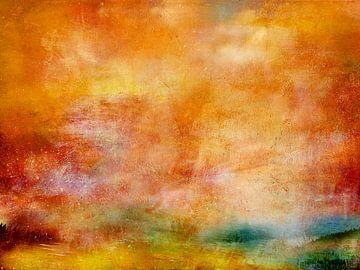Landschap gebaad in oranje van Claudia Gründler