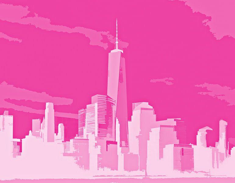 Sunlight over the city - Pink von PictureWork - Digital artist