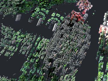 Zwevende hoekige 3D fractals, abstracte computer graphics van Frank Heinz