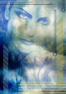 Portret in blauw, digitale kunst van Rietje Bulthuis