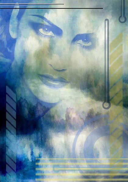 Portrait en bleu, l'art numérique sur Rietje Bulthuis