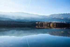 Het Lac Chambon in de Auvergne in Frankrijk
