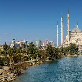 De Sabanci moskee (Sabanci Merkez Camii) in Adana, Turkije gezien vanaf de Romeinse brug over de  van Martin Stevens
