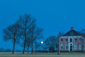 Maanondergang in Groningen van Hans Kerchman