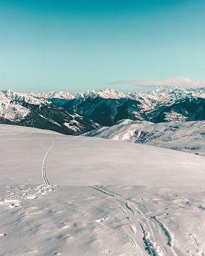 Skigebied La Grand Domaine gezien vanaf de top van de berg van Mick van Hesteren