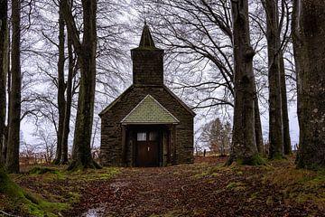 Klein kerkje tussen de bomen op een regenachtige dag. van Ineke Mighorst