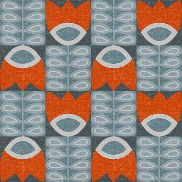 Retro jaren 70 vintage geïnspireerd patroon met gestileerde bloemen en bladeren in blauw en oranje van Dina Dankers