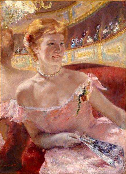 Mary Cassatt. Woman with a Pearl Necklace in a Loge van 1000 Schilderijen