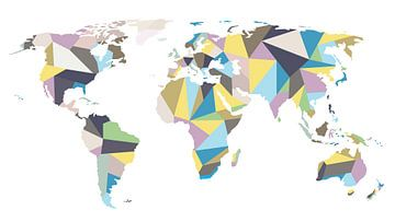 Pastell Weltkarte im geometrischen Stil von - Wereldkaarten.shop -