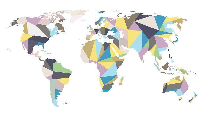 Pastelkleurige Wereldkaart in Geometrische stijl van - Wereldkaarten.Shop -