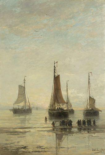 Schilderij schepen - Scheveningse bommen voor anker, H.W. Mesdag van