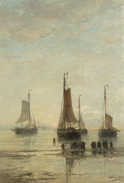 Schilderij schepen - Scheveningse bommen voor anker, H.W. Mesdag van Schilderijen Nu
