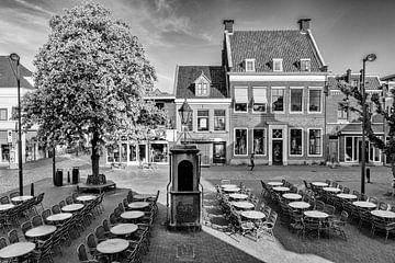 Horeca terras en waterpomp op De Plaats, IJsselstein. van Tony Buijse