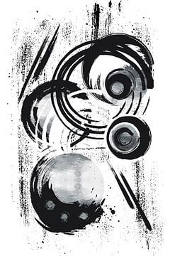 Abstrakte Malerei Nr. 32 | silber von Melanie Viola