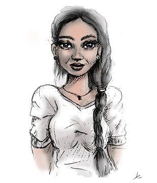 Engel in weiß mit langen Haaren - Porträt von schönen weiblichen Modell mit langen Haaren. von Emiel de Lange