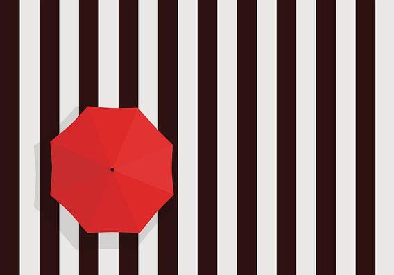 Zebrapad met rode paraplu.