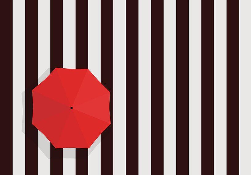Zebrapad met rode paraplu. van Mark Rademaker