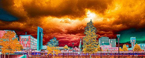 Skyline Almelo kleurrijk van