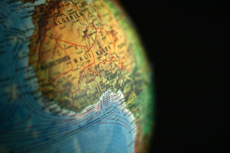 Afrika Uitgelicht op de Wereldbol