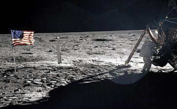 Neil Armstrong op de maan van