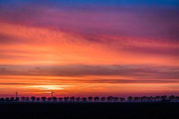 Zonsopgang in Flevoland van Mike Bot PhotographS