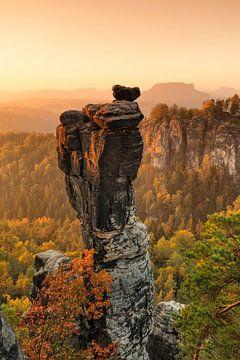 Wehlnadel bei Sonnenaufgang, Bastei, Sachsen von Markus Lange
