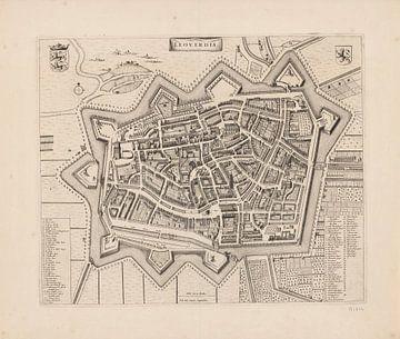 Karte von Leeuwarden von ca. 1700