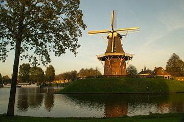 Stadswal Dokkum met molen Zeldenrust in avondlicht van Tim Groeneveld
