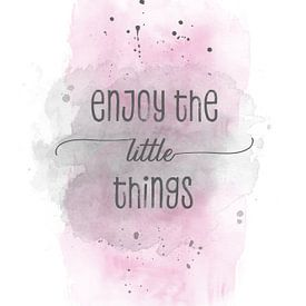 Enjoy the little things  | aquarel roze van Melanie Viola