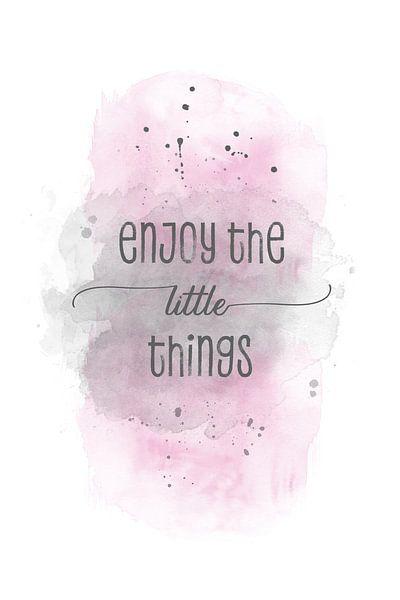 Enjoy the little things    aquarel roze van Melanie Viola