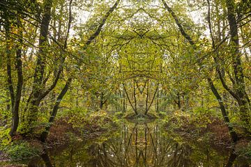 Übernatürlich-surreale Landschaft mit einem Bach und Bäumen von Ger Beekes