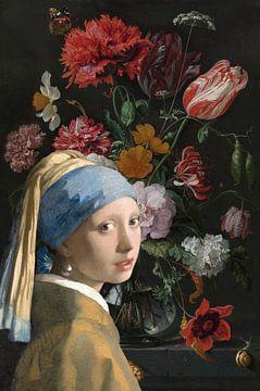 Mädchen mit einem Perlenohrring und einem Blumenmeer von Eigenwijze Fotografie