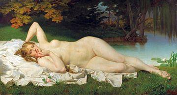 Weiblicher Akt in weiter Landschaft, Luigi da Rios - 1877 von Atelier Liesjes