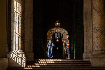 Zwitserse garde en non in de Sint-Pieter in Rome van Damien Franscoise