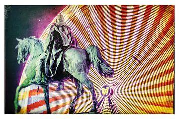 Le cavalier électrique - Le monument Kaiser Wilhelm I dans le centre ville d'Essen, la nuit sur Jakob Baranowski - Off World Jack