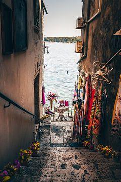 Klein steegje naar de zee met kledingwinkel in Rovinj van Fotos by Jan Wehnert