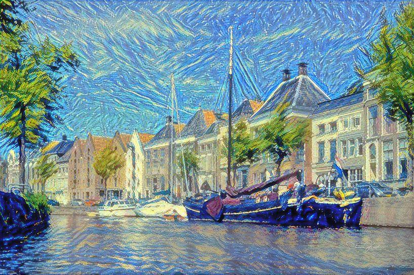 High Der Aa aus dem Wasser im Stil von Van Gogh von Slimme Kunst.nl