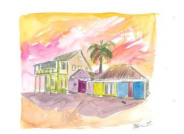 St. Lucia Bunte Häuser und Sonnenuntergang von Markus Bleichner