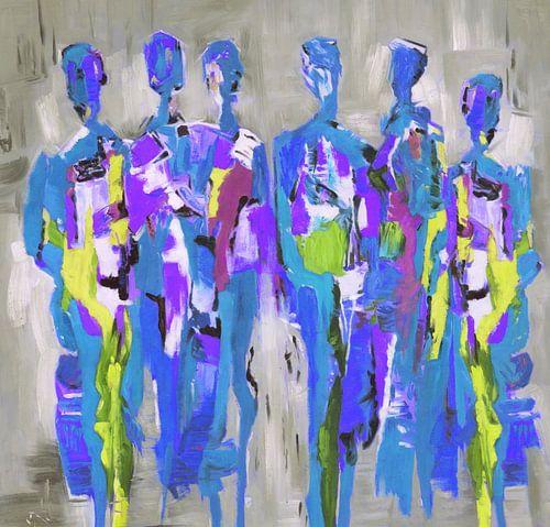 Blue People of Color | Blauw Schilderij met Figuren van