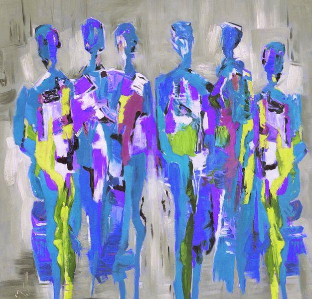 Blue People of Color | Blauw Schilderij met Figuren van Kunst Company
