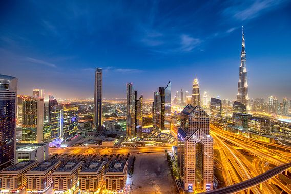 Burj Khalifa en Dubai International Financial Center van Rene Siebring
