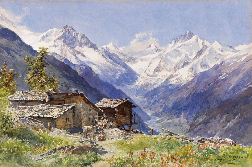 Die Alpe Barneuza (Wallis), EDWARD THEODORE COMPTON, Um 1900 von Atelier Liesjes