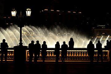 Silhouetten in de nacht van Las Vegas, Nevada, USA van Carolina Reina