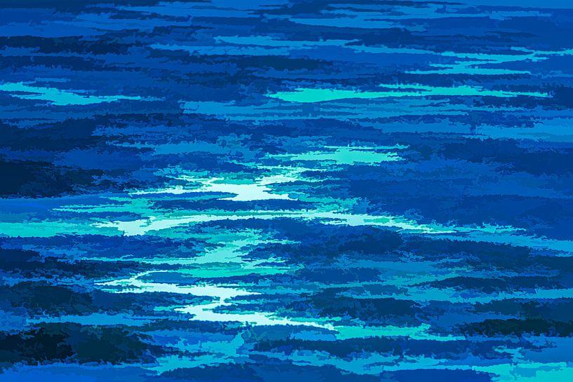 Abstract landschap in blauw van Leo Luijten