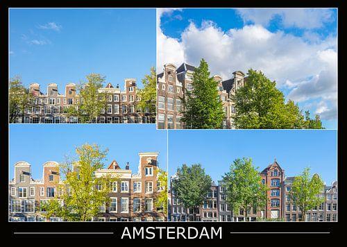 Amsterdamse gevels op oude grachtenpanden