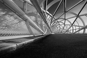 Perspectief in een brug (zwart wit)