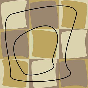 Abstract organische vormen in geel oker van Maurice Dawson