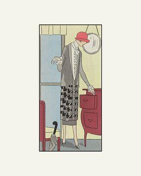 Frau mit Handschuhen | Vintage Art Deco Mode Druck | Historische Retro Werbung von NOONY