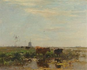 Weide met koeien aan het water, Willem Maris van