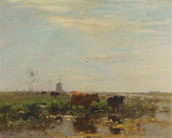 Weide met koeien aan het water, Willem Maris